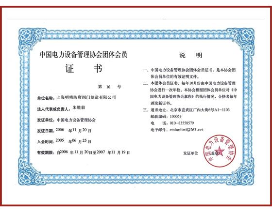 中国电力设备管理协会团体会员证书